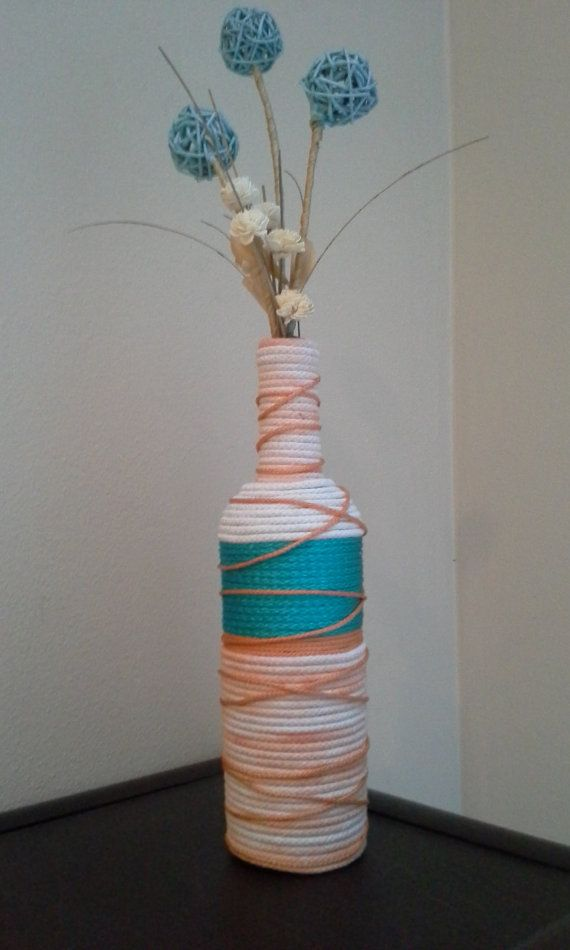 Upcycled Wine Bottle Vase wrapped in aqua teal, creamscicle orange, and tan rope. Home decoration, wedding present, birthday present.