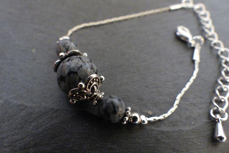 ♥ Bracelet pierre obsidienne mouchetée et métal argenté ♥ : Bracelet par perlesenpagaille