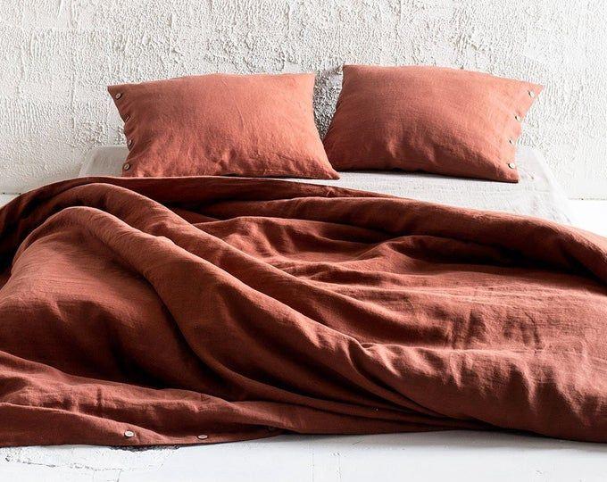 Linen Bedding Set In Charcoal Gray Dark Gray Color King Queen Linen Duvet Cover 2 Pillowcases Linen Duvet Linen Duvet Covers Duvet Covers