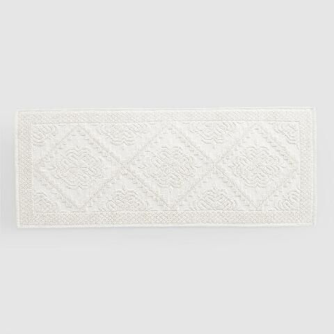 Extra Long Ivory Woven Bath Mat | World Market