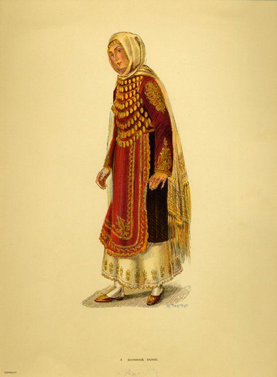 Φορεσιά Σαλαμίνος. Costume from Salamis. Collection Peloponnesian Folklore Foundation, Nafplion. All rights reserved.