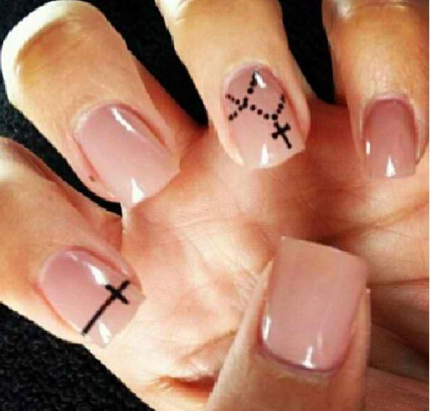 Cross nails. Cute! Rosary.