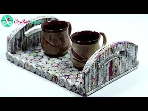 Best Out of Waste Ideas: How to Make Serving Tray with Newspaper & Cardboard | By CraftingHours - YouTube