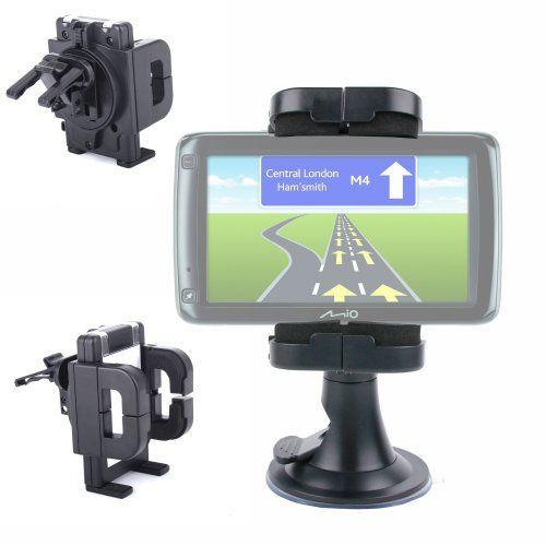 Fixation Voiture Anti Vibration Rotatif – tableau de bord, grille d'aération & pare-brise – pour GPS MAPPY Iti E408, Takara GP73, Mappy ITI…