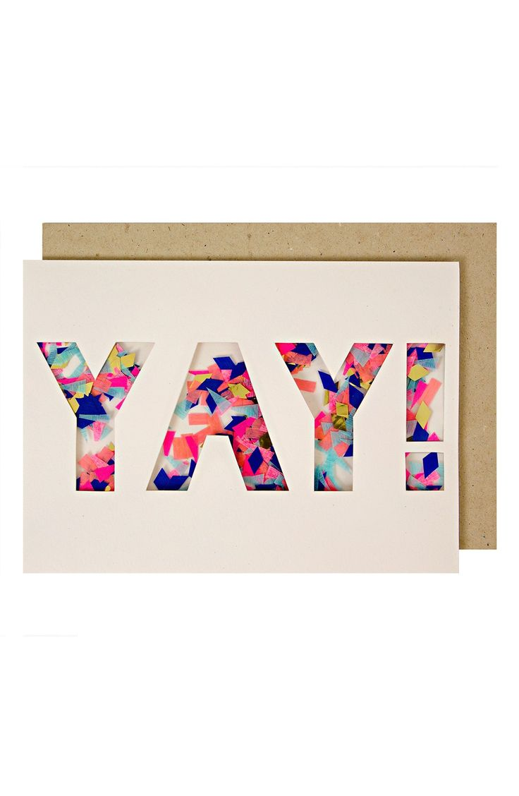 Sending well wishes and congratulations in spirited fashion with this colorful shaker card perfect for a plethora of occasions.