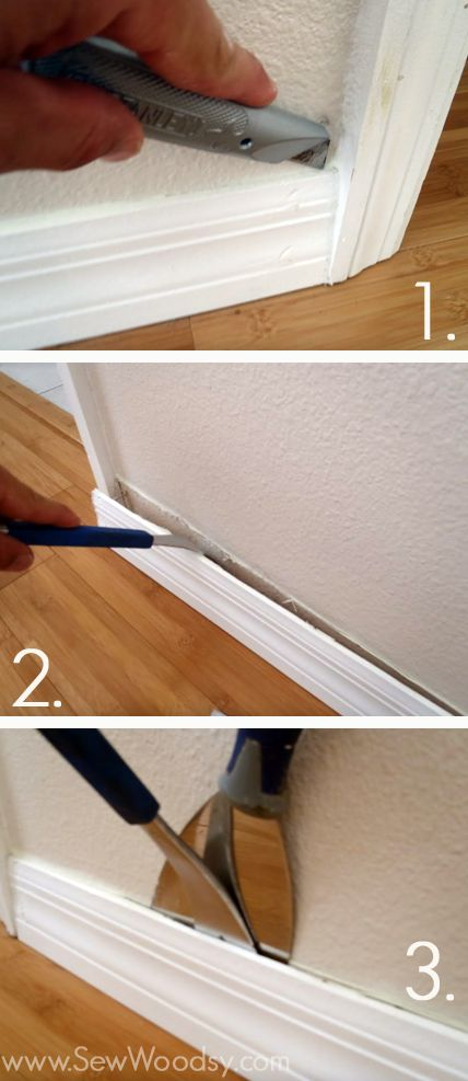 ...remove baseboards. Another tip is cover your pry areas on your tools (eg: claw of a hammer) with duck tape to save your walls from getting marked up
