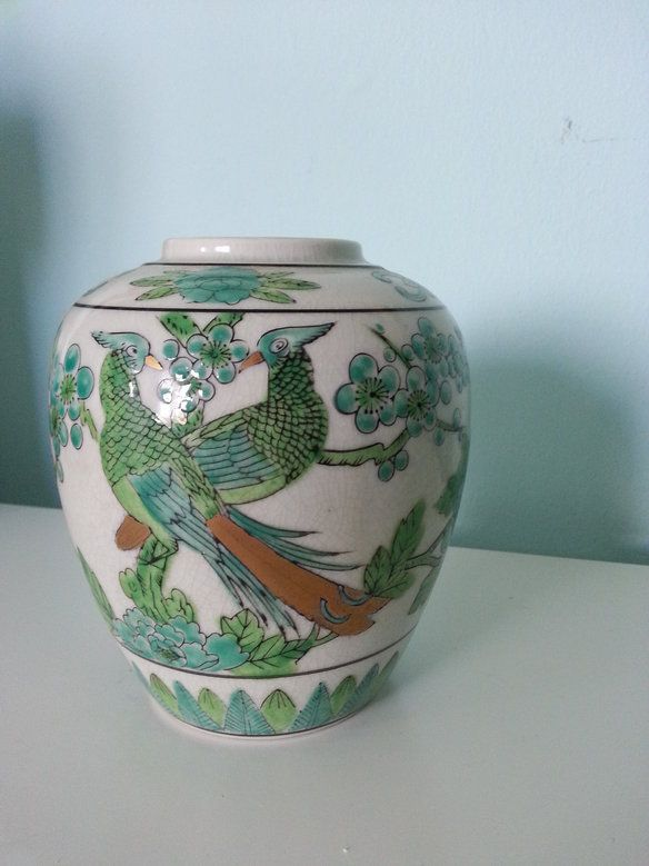 Japanese Ginger Jar with green floral and Bird  —