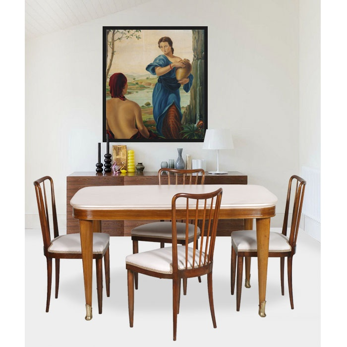 Art decò table with four chairs - Tavolo design vintage restaurato... read more: http://mobiliartdeco.blogspot.it/2012/06/tavolo-art-deco-con-quattro-sedie.html