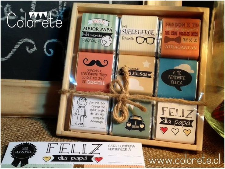 Chocolates personalizados para el Día del Padre! Regalos originales. www.colorete.cl / Chile.