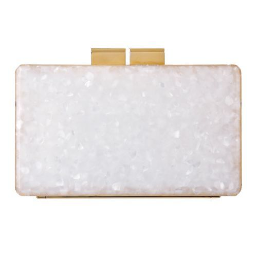 Urania Gazelli Shell Clutch - Acrylic clutch. Colour- Shell and see-through. With gold detailing on the sides and a gold chain as an option