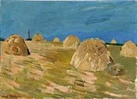 Landscape with hay stacks by Olaf Rude