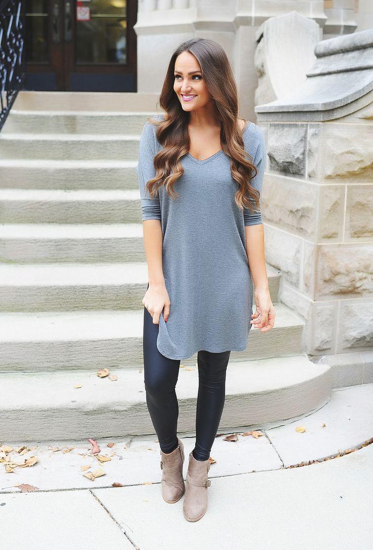 V Neck Side Slit Tunic- Charcoal - Dottie Couture Boutique