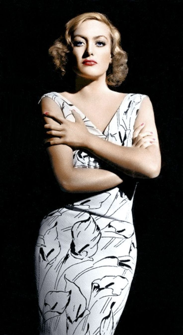 Joan Crawford - @~Mlle color photo print ad model movie star fashion style white black novelty print dress 40s rare image