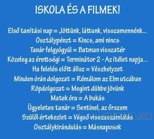 Iskola és filmek
