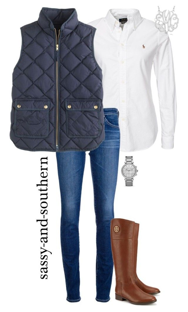"""fall outfit"" by sassy-and-southern ❤ liked on Polyvore featuring AG Adriano Goldschmied, J.Crew, Allurez, Tory Burch and MICHAEL Michael Kors"