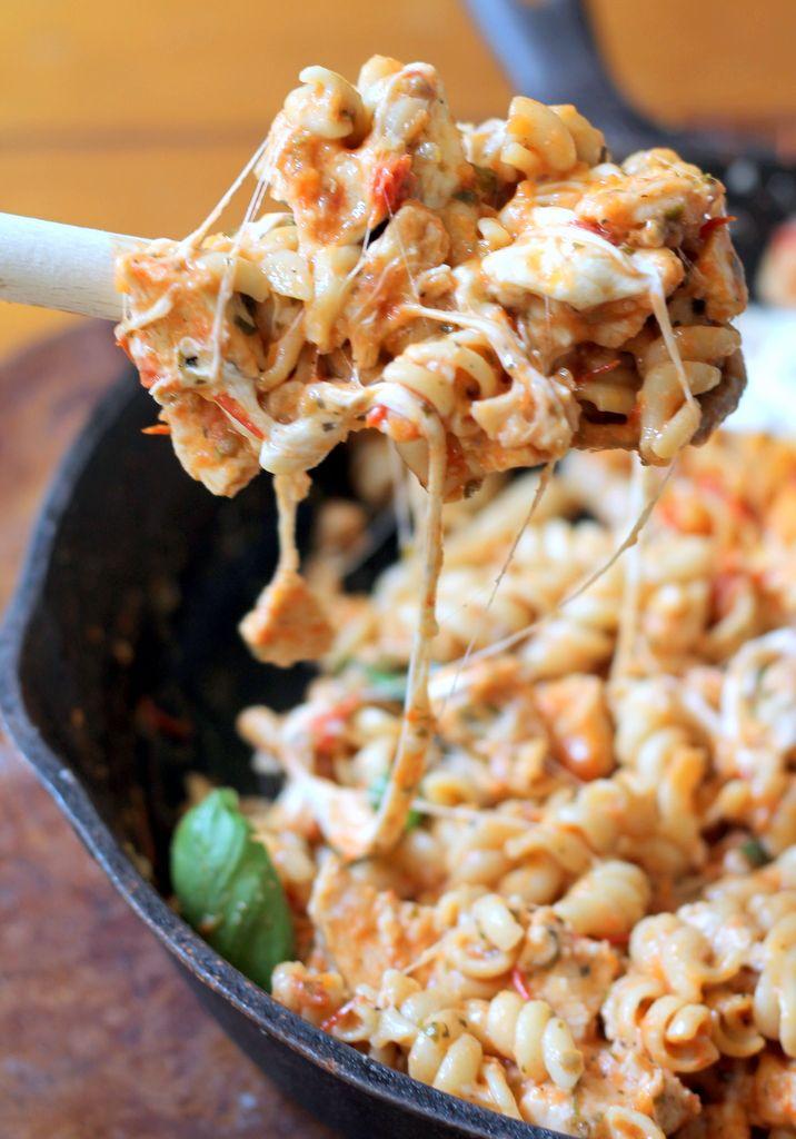 One-skillet Chicken Rotini with a delicious Homemade Tomato Basil Sauce & creamy Burrata! Recipe ~ cheesy deliciousness!