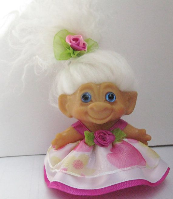 Adorable Vintage DAM Troll Doll in her Floral Spring Dress