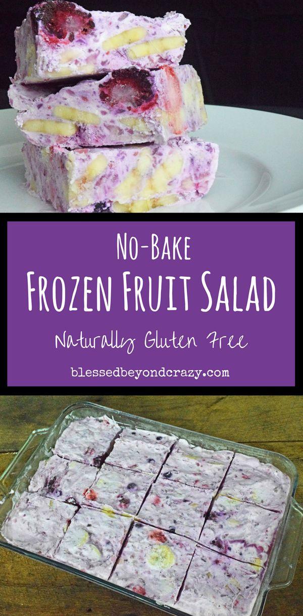 No-Bake Frozen Fruit Salad - Naturally Gluten Free - #blessedbeyondcrazy #salad #recipe