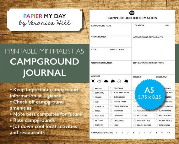 Printable Campground And Rv Park Journal A5 Filofax