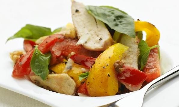 This simple salad is a tasty addition to your recipe collection. Marinating the chicken in a vinaigrette makes the chicken nice and tender.