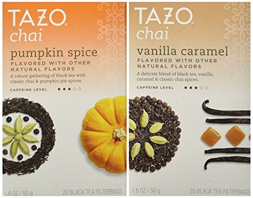 Tazo Chai Tea Holiday Bundle - 2 Items (Tazo Chai Pumpkin Spice Tea and Tazo Chai Vanilla Caramel Tea):