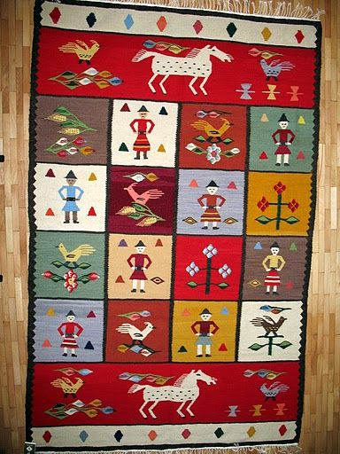 Handmade romanian traditional rug - Covor romanesc traditional lucrat manual - Canada