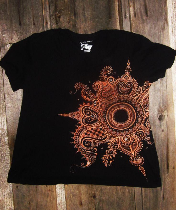 Bleached Henna Mehndi Mandala Black Tee