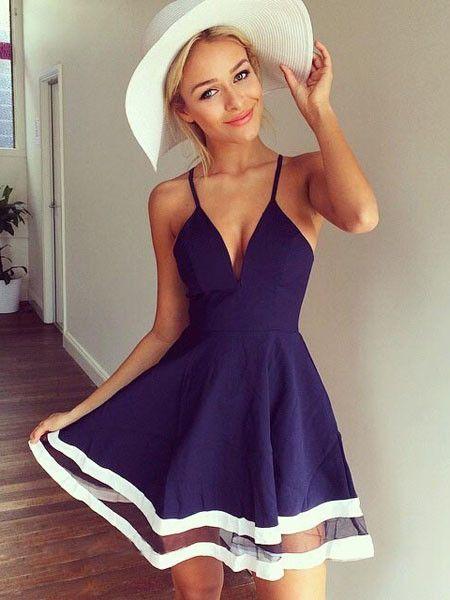 Deep V Dress Summer Spaghetti Strap Party Dress