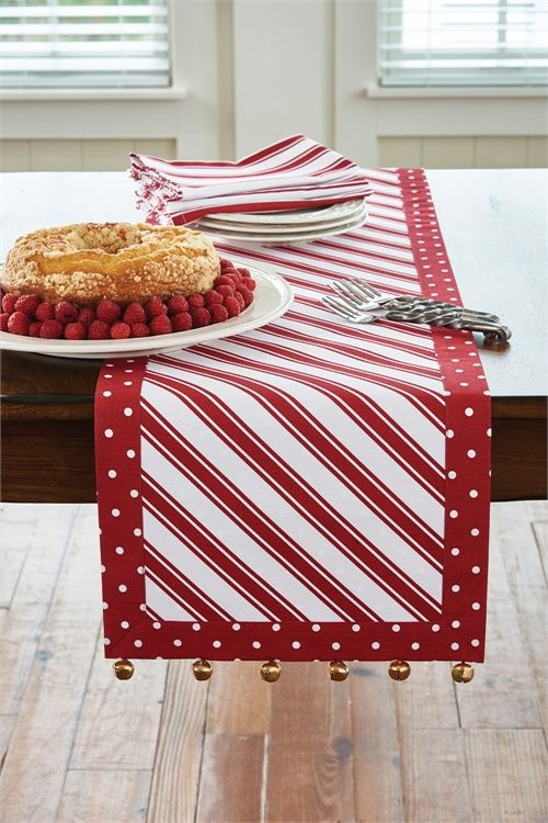 "Available in 36"" and 54"" lengths... this popular Peppermint Candy Table Runner with matching cloth napkins, placemats, tablecloth, and more!  CountryPorch.com"