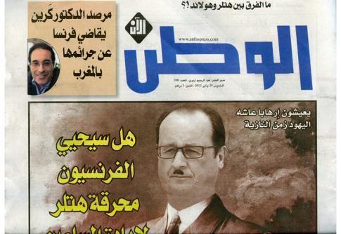 MÉDIAS • François Hollande en Hitler à la une d'un tabloïd marocain
