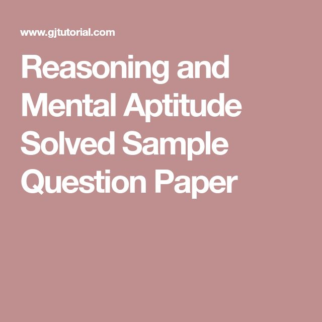 Reasoning and Mental Aptitude Solved Sample Question Paper