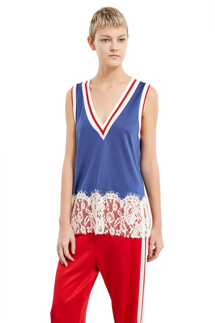 MM6 Maison Margiela, V-Neck Top This varsity-inspired tank top features a two-tone white and red collar and cuffs, while lace trim at the hem adds a delicate contrast., Deep V-neck, Sleeveless, 50% viscose, 44% cotton, 6% polyamide, Made in Italy