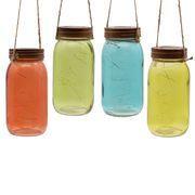Solar LED Lights Hanging Multicolor Mason Jar for Tree and Garden Decoration