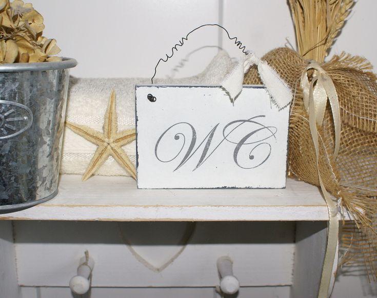 Schild WC Shabby Chic Holz von white-living-art auf DaWanda.com