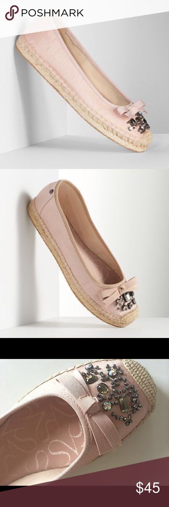Vera Wang Blush Jeweled Espadrille Shoes Vera Wang blush iridescent w/pewter jeweled stone espadrille shoes will have you looking fab! Vera Wang Shoes Espadrilles