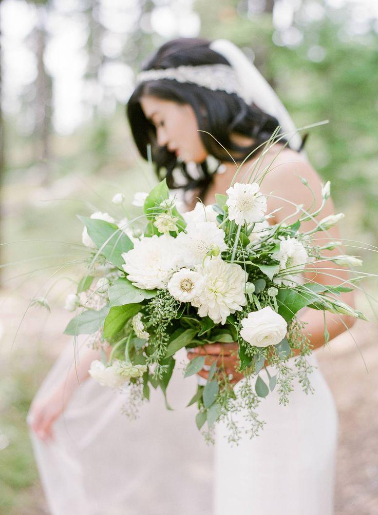 Silver Mountain Resort Wedding // Shivyon & Zach via Rocky Mountain Bride // white wedding bouquet // dahlia, ranunculus, scabiosa, zinnia, lisianthus, seeded eucalyptus, salal // organic wedding bouquet // @edenfrei @parkroadphoto @acbridal @marcellaseattle