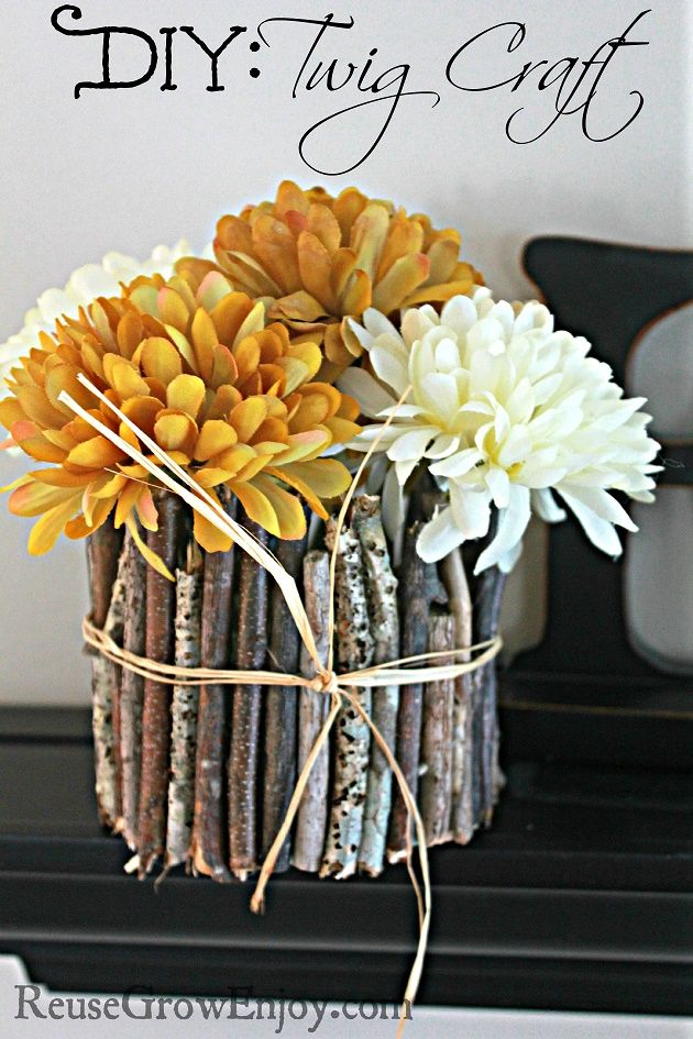 Bring a little nature in the home with this DIY Twig Craft. Great way to use those little twigs that fall around the yard.