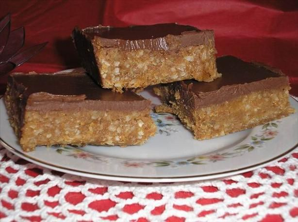 5 Star Bars from Food.com: My sister sent me this recipe raving about how good these squares were. They taste exactly like a chocolate bar we used to buy as kids called a 5 Star Bar. Hope you like them as much as we do.