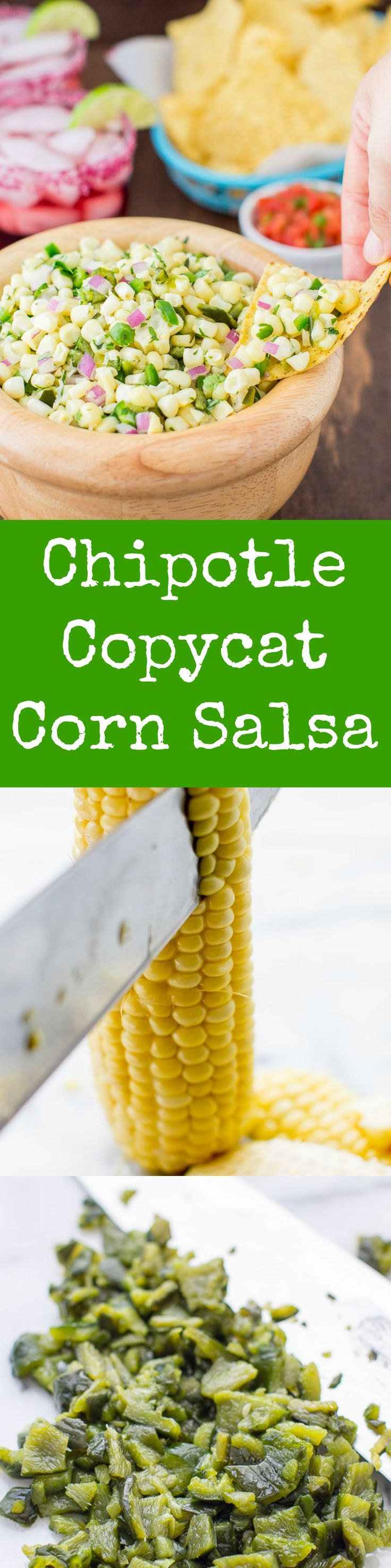 A sweet salsa with medium heat this Roasted Chili-Corn Salsa combines two chili peppers with sweet corn for maximum flavor. A Chipotle Copycat recipe.