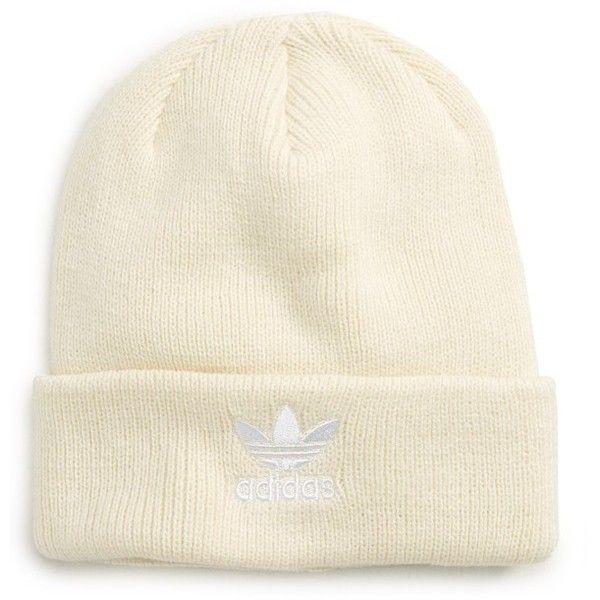 Women's Adidas Originals Beanie ($20) ❤ liked on Polyvore featuring accessories, hats, white, adidas originals hat, embroidered beanie, white beanie, adidas originals beanie and beanie caps