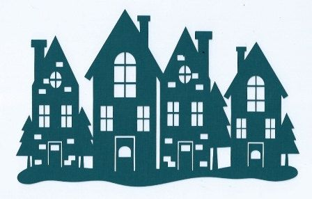 Christmas town silhouette by hilemanhouse on Etsy, $3.95