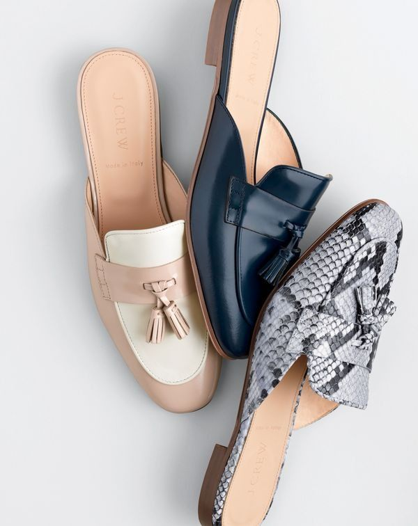 Introducing the J.Crew women's Charlie slide. Made in Italy. Also made for your morning commute.