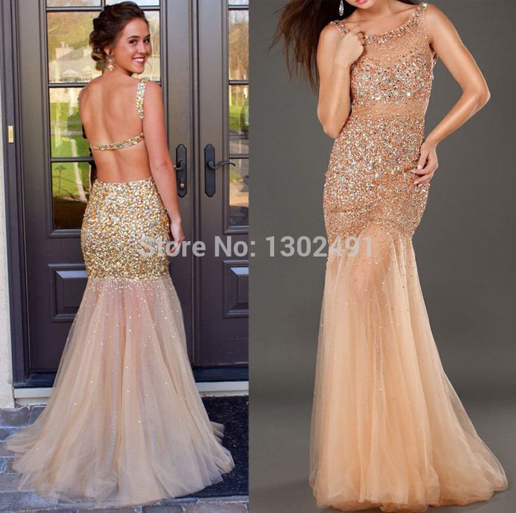 Rose Gold Prom Silvers: Luxury O-Neck Beaded See Through Tulle Evening Party Gowns