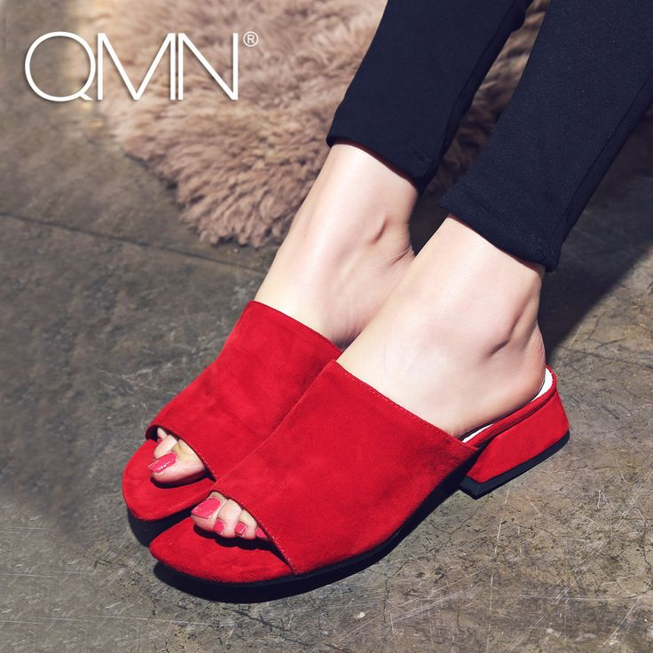 >> Click to Buy << QMN women genuine leather mules Women Open Toe Natural Suede Summer Slippers Slip On Leisure Shoes Woman Leather Slides 34-40 #Affiliate