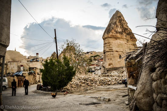 A typical side street in Goreme where the ancient Fairy Chimney houses are still inhabited by local families.Visit @ http://themostalive.com/goreme-cappadocia-turkey-fairy-chimneys-cave-hotels/