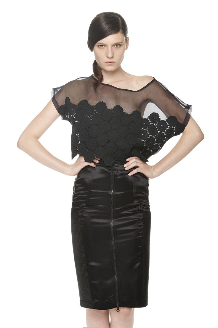 #ERAKLE #SS16 black organza top with lace & black satin skirt with mesh
