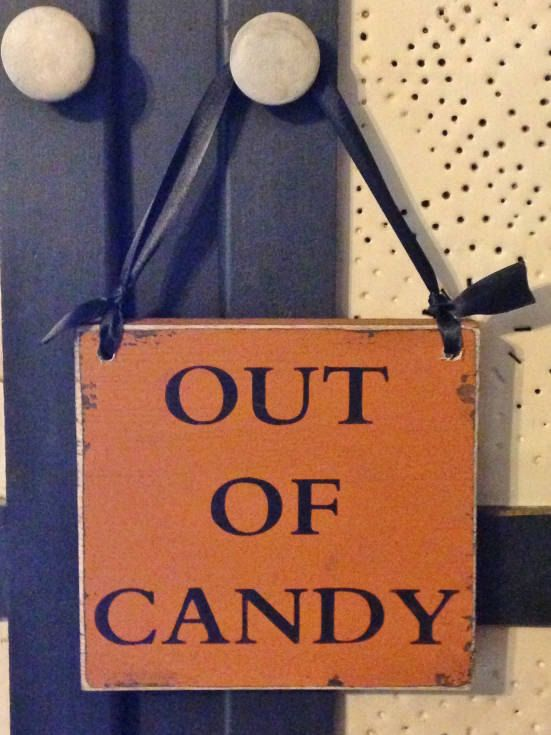 Primitive Wood Sign, Out Of Candy Halloween Sign on Etsy, $12.00