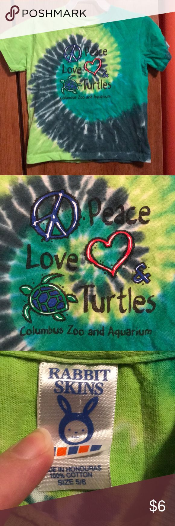 Kids tie dye peace love and turtles sz 4-5 T-shirt Kids tie dye peace love and turtles sz 4-5 T-shirt Shirts & Tops Tees - Short Sleeve
