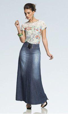 3952 - Saia Jeans Longa com Detalhe Cordão no Cós - Row-an Jeans