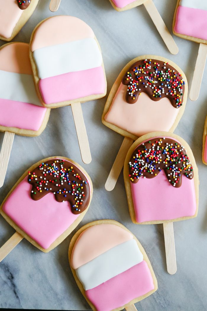 ice cream pops decorated cookies tutorial from @bakeat350
